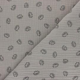 Double cotton gauze fabric - taupe Hérisson x 10cm
