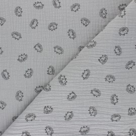 Double cotton gauze fabric - light grey Hérisson x 10cm