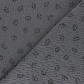 Double cotton gauze fabric - grey Hérisson x 10cm