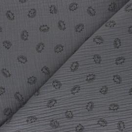 Tissu double gaze de coton Hérisson - Gris x 10cm