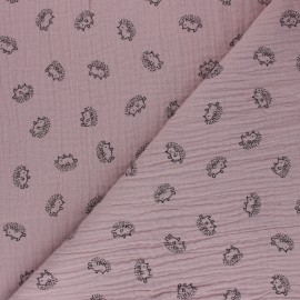 Double cotton gauze fabric - old pink Hérisson x 10cm