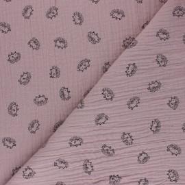 Tissu double gaze de coton Hérisson - vieux rose x 10cm