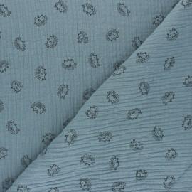 Double cotton gauze fabric - blue Hérisson x 10cm