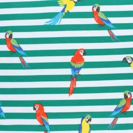 Printed Jersey fabric - green Pako le perroquet x 10cm