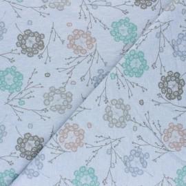 Tissu sweat Cueillette - bleu chiné x 10cm