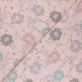 Tissu sweat Cueillette - rose chiné x 10cm