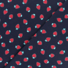 Cotton Jersey fabric - navy blue Strawberry smell x 10cm