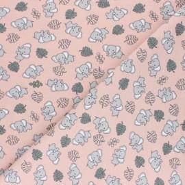 Cotton Jersey fabric - Pink Cuty elephant x 10cm