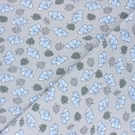 Cotton Jersey fabric - Grey Cuty elephant x 10cm