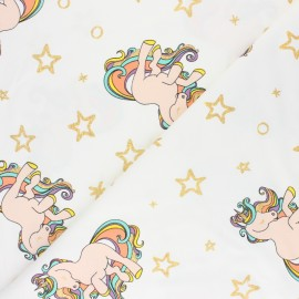 Cotton Jersey fabric - raw Rainbow unicorn x 10cm