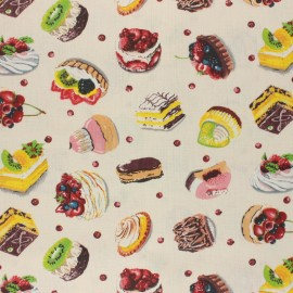 Coated cretonne cotton fabric - raw French Patisserie x 10 cm