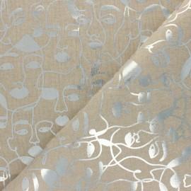 Polycotton linen aspect canvas - Natural/silver Picasso x 10cm