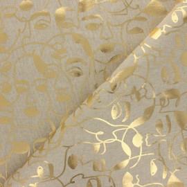 Polycotton linen aspect canvas - Natural/gold Picasso x 10cm