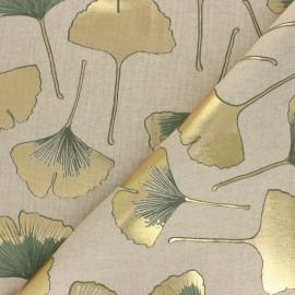Tissu Toile polycoton aspect lin Biloba - doré/vert sauge x 10cm