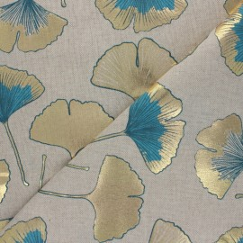 Tissu Toile polycoton aspect lin Biloba - doré/bleu pétrole x 10cm