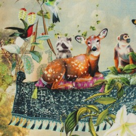 Tissu coton Poésie Onirique - vert x 60 cm
