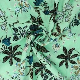 Lurex crinkle viscose fabric - light green Jolie floraison x 10cm