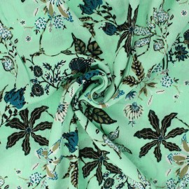 Tissu crépon de viscose Jolie floraison - vert clair x 10cm