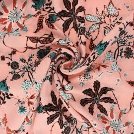Tissu crépon de viscose Jolie floraison - rose x 10cm