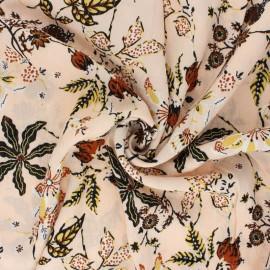 Tissu crépon de viscose Jolie floraison - pêche clair x 10cm