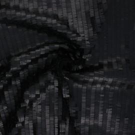 Tissu tulle brodé de sequin Swing - noir x 10cm