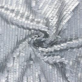 Tissu tulle brodé de sequin Swing - argent x 10cm