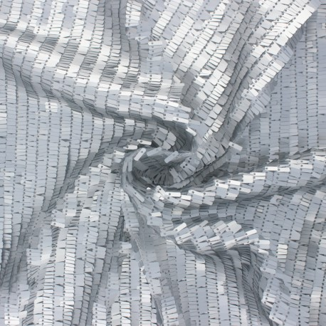 Sequin tulle fabric - silver Swing x 10cm