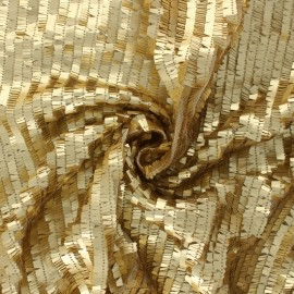 Tissu tulle brodé de sequin Swing - doré x 10cm