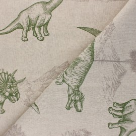 Linen aspect polycotton fabric - green Dinosaurus x 10cm