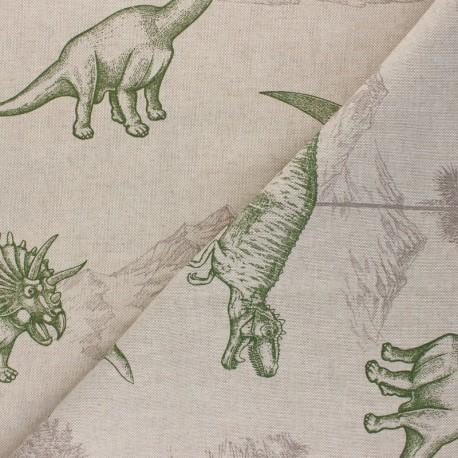 Tissu Toile polycoton aspect lin Dinosaurus - vert x 10cm