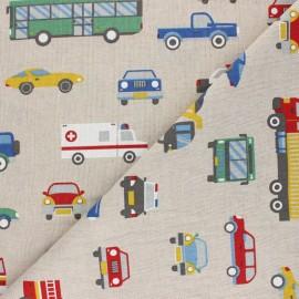 Linen aspect polycotton fabric - multicolor Véhicules x 10cm