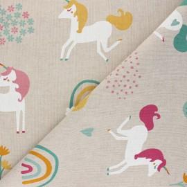 Linen aspect polycotton fabric - multicolor Unicorn world x 10cm