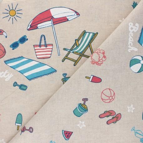 Tissu Toile polycoton aspect lin Summer holidays - multicolore x 10cm