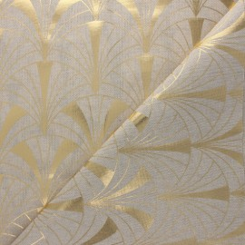 Linen aspect polycotton fabric - gold Arcadia x 10cm