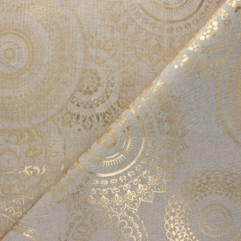 Linen aspect polycotton fabric - gold Mandala x 10cm