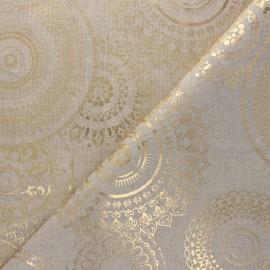Tissu Toile polycoton aspect lin Mandala - doré x 10cm