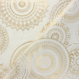 Polycotton fabric - gold Mandala x 10cm