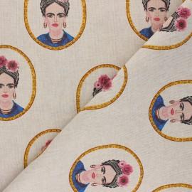 Tissu Toile polycoton aspect lin Frida portrait - multicolore x 10cm