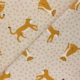 Linen aspect polycotton fabric - ochre Elie le léopard x 10cm