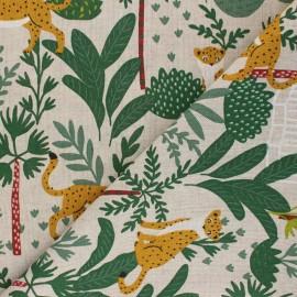Tissu Toile polycoton aspect lin Jungle leo - vert x 10cm