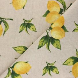 Linen aspect polycotton fabric - yellow Citrus x 10cm
