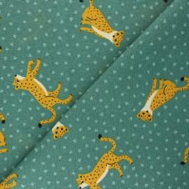 Tissu Toile polycoton Elie le léopard - vert x 10cm