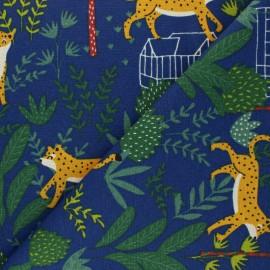 Tissu Toile polycoton Jungle leo - bleu marine x 10cm