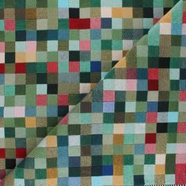 Tissu Jacquard Pixel - vert x 10 cm
