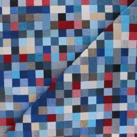Tissu Jacquard Pixel - bleu x 10 cm