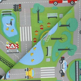 Polycotton canvas fabric - multicolor Roadmap x 70cm