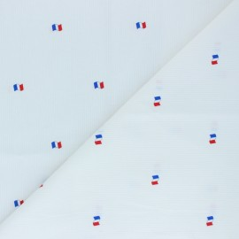 Stitched cotton fabric - White Drapeau français x 10cm
