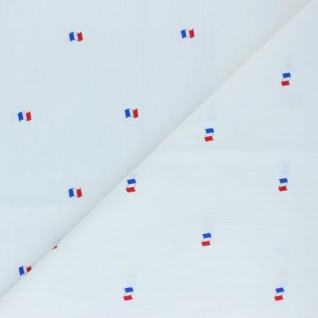 Stitched cotton fabric - White Drapeau français x 10cm