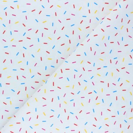 Stitched cotton fabric - red Confetti x 10cm