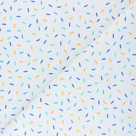 Stitched cotton fabric - green Confetti x 10cm
